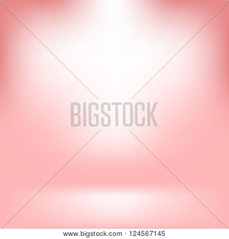Empty Studio. Light Pink Abstract Background with Radial Gradient Effect. Spotlights Blurred Background. Flat Wall and Floor in Empty Spacious Room Interior for Your Products