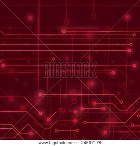 Modern Computer Technology Red Background. Circuit Board Pattern. High Tech Printed Circuit Board