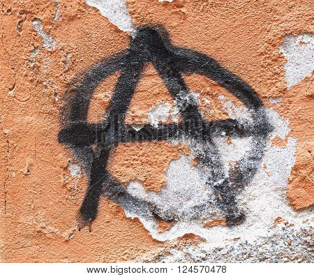 Symbol of Anarchy painted on a wall