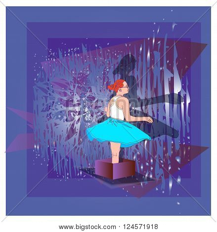 Girl in skirt standing in a gift box on the background of blue shadow, vector illustrations
