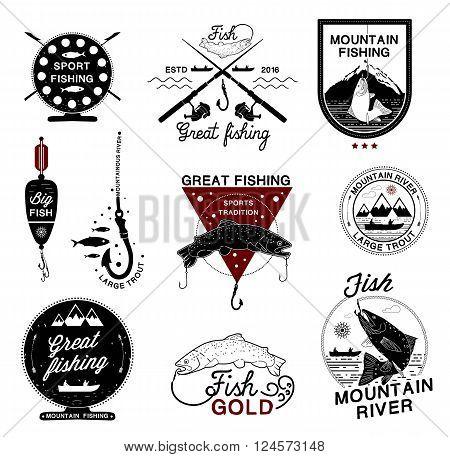 Set of vintage fishing logo, labels, emblems and designed elements. Fishing club, fishing rod, tuna,  fishing hook, fishing sport logos