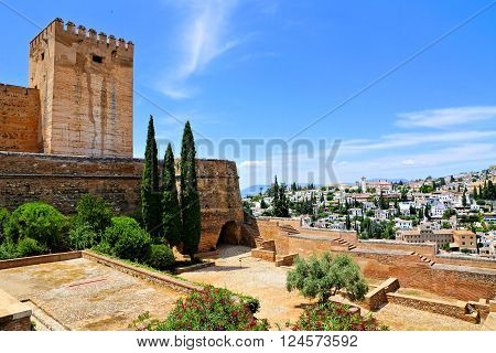 View From Of The The Fortifications Of The Alhambra Over The City Of Granada, Spain