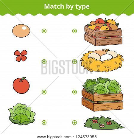 Matching Game For Children. Match Items By Type