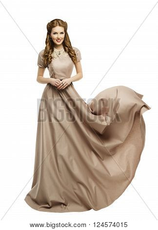 Woman Long Dress Fashion Model in Historical Gown Flying Waving over White