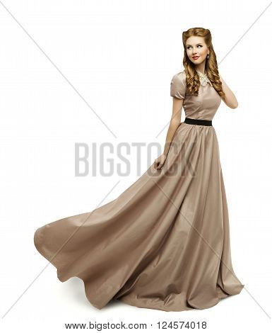 Woman Brown Dress Fashion Model in Long Gown Turning on White