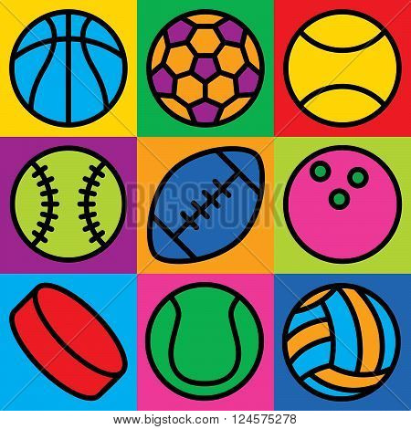 Sports Ball Icons illustration of generic game ball icons in a colorful checkerboard. Can also be used as a seamless pattern.