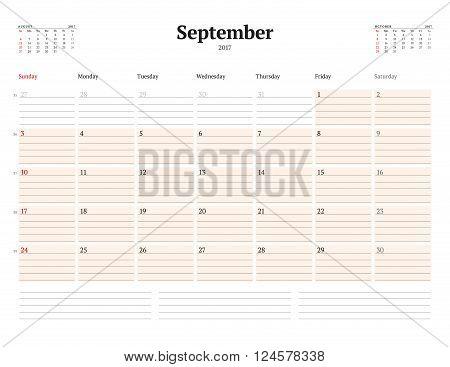 Calendar Template For 2017 Year. September. Business Planner Template. Stationery Design. Week Start