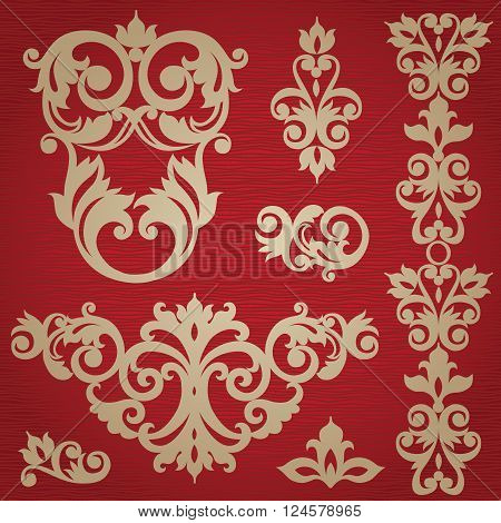 Vector Set With Ornament In Victorian Style.