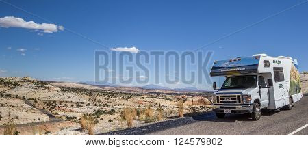 ESCALANTE, USA - OCTOBER 2, 2015: Panorama of an RV along highway 12 in Utah, USA