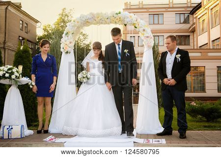 wedding couple , groomsman and bridesmaid are during wedding ceremony ** Note: Soft Focus at 100%, best at smaller sizes
