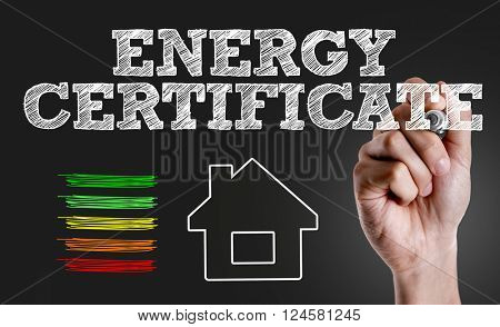Hand writing the text: Energy Certificate