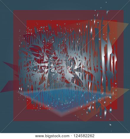 Vector background red blue abstract shiny drops