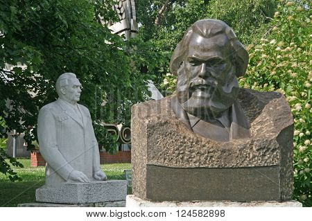 Moscow, Russia - June 13, 2009: Old Sculptures Of Karl Marx And Leonid Brezhnev  In Muzeon Art Park