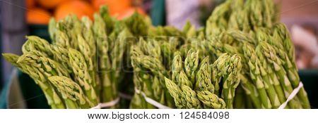 Fresh Asparagus Selling In A Farmers Market