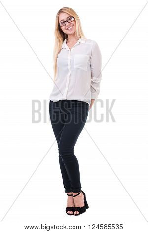 beautiful blond business woman standing over isolated white background with copy space