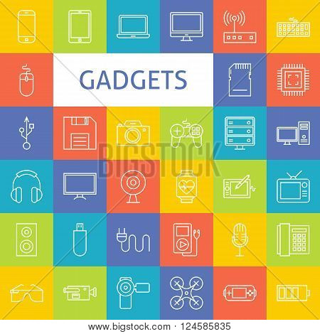 Vector Line Art Electronic Gadgets Icons Set