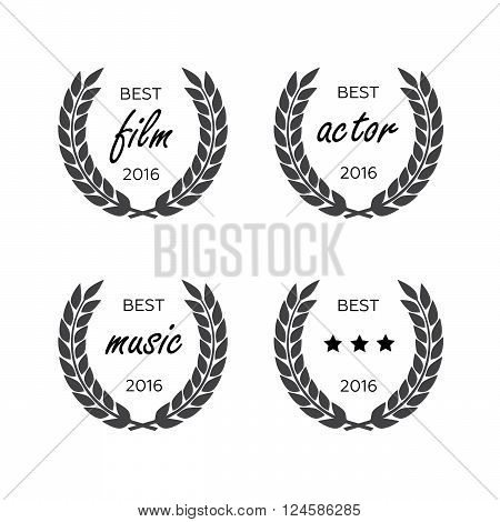 Set of awards for best. Black color film award wreaths isolated