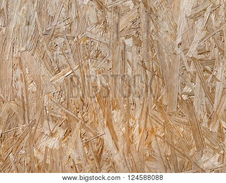 Texture of an OSB oriented strand board in close-up