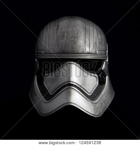 BLOOMFIELD NJ - APR 3 2016: Studio portrait of Star Wars First Order Captain Phasma Stormtrooper helmet from the movie Episode VII The Force Awakens. Phasma is portrayed by actress Gwendoline Christie