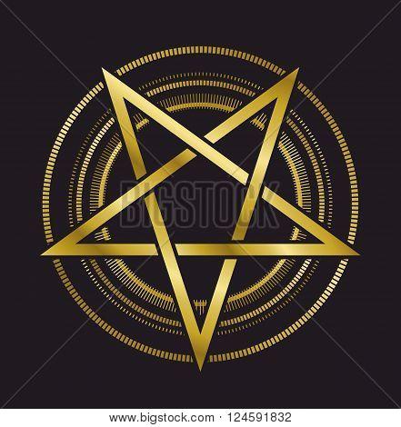 vector design signs pentagram gold five-pointed star on a black background