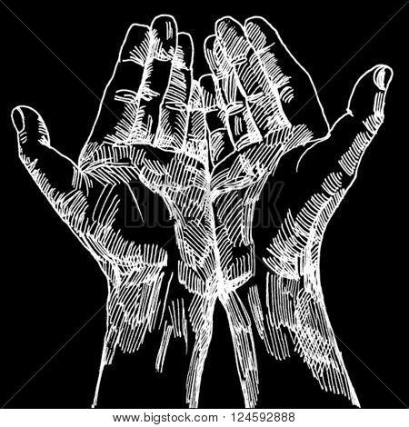 Doodled hands White on Black