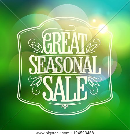 Great seasonal sale design template against green bokeh backdrop.