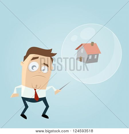 concerned businessman with house in a soapbubble and a needle