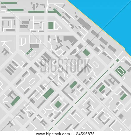 Vector flat city map river illustration unmarked