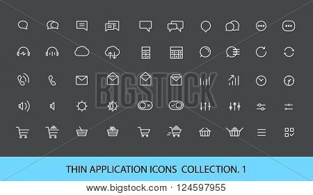 Modern web and mobile application pictograms collection. Lineart interface icons set