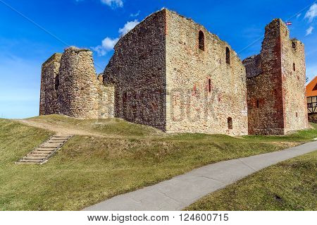 Ruins of the medieval castle in Bauska, Latvia ** Note: Visible grain at 100%, best at smaller sizes