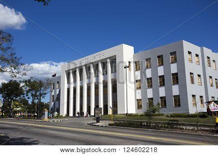 Santiago de Cuba Cuba - December 29 2015: Palacio de Justicia (Justice palace) in Santiago Cuba during a winter morning