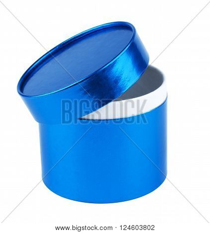 Blank Round gift box with the lid ajar. Blue pearl color. Isolated on white background.