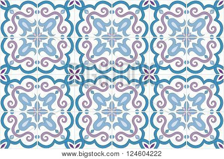 Traditional ornate portuguese and brazilian tiles azulejos in blue and violet colors. Vintage pattern. Abstract background. Vector illustration, eps10.