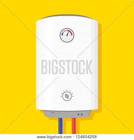 Boiler Icon in flat style isolated on yellow background wish shadow. Vector Illustration
