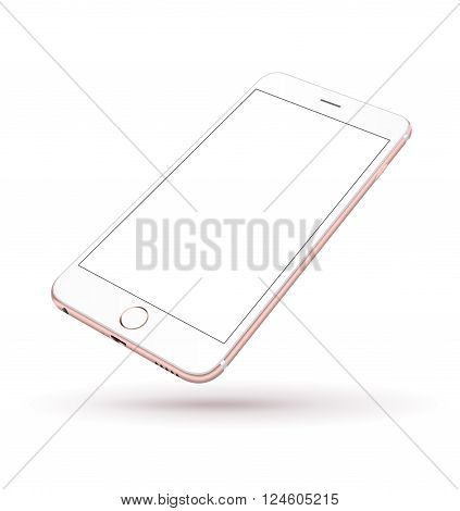 New realistic mobile phone smartphone iphon style mockup perspective on white background. Vector illustration.