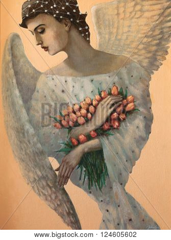 angel, original oil painting on canvas