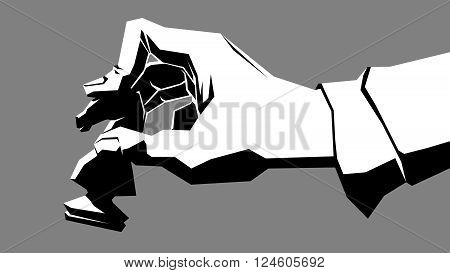 Simple vector black and white illustration of hand with chess piece (knight).