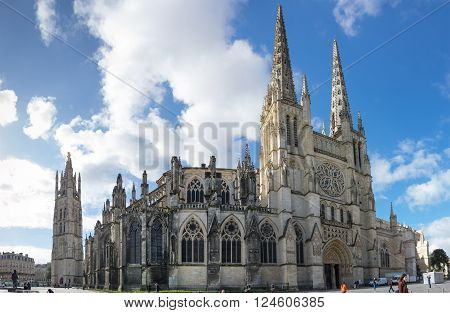 BORDEAUX FRANCE - MAY 06 2015: Bordeaux Cathedral (Cathedrale Saint-Andre de Bordeaux) is a Roman Catholic cathedral seat of the Archbishop of Bordeaux-Bazas located in Bordeaux