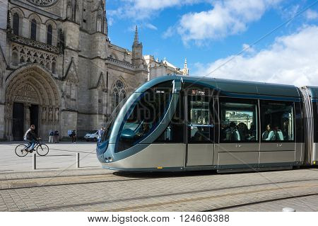 BORDEAUX FRANCE - MAY 06 2015: Modern tram in Bordeaux. Bordeaux is a port city on the Garonne river in southwestern France
