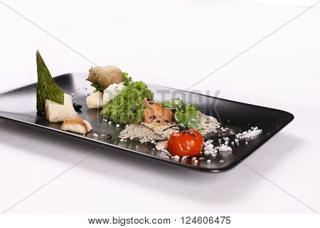 Molecular gastronomy, experimental, avant-garde, provocative kitchen or culinary physics. Stock image.