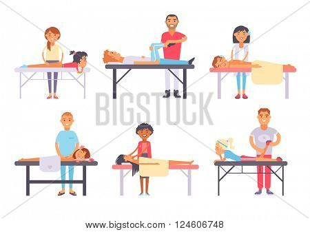Relaxing people massage different spa heath care vector.
