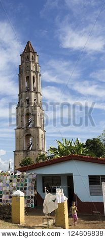 Manaca Iznaga, Cuba - January 2, 2016: Valle de Los Ingenios in Sancti Spiritus Province, Cuba on January 2, 2016. It is UNESCO heritage