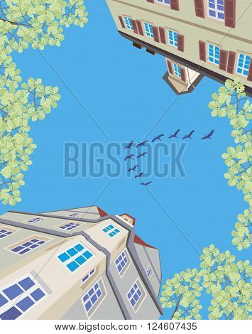 migratory birds flying over an old european town in spring