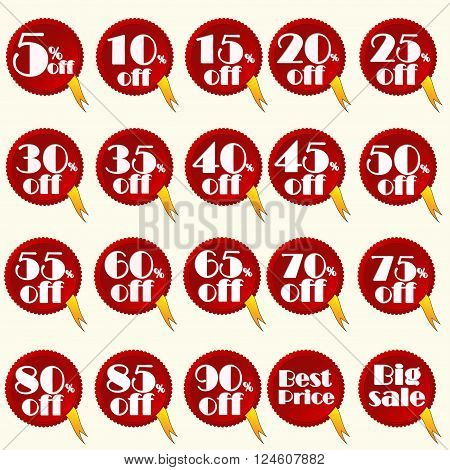 red discount stickers set you can easily change color and size or delete yelow tape vector