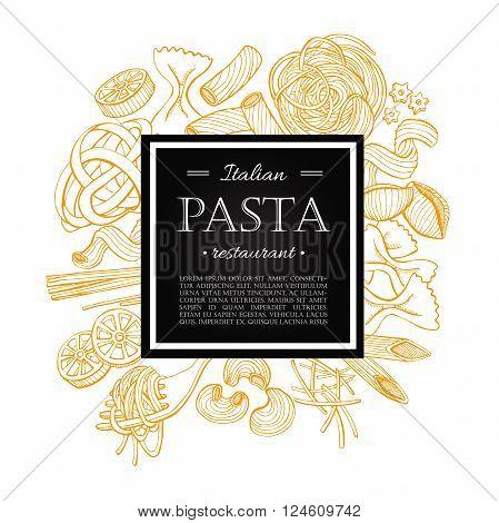 Vector vintage italian pasta restaurant illustration. Hand drawn banner. Great for menu banner flyer card business promote.