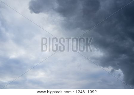 Comes the storm. Cloudy sky over horizon thunderclouds.