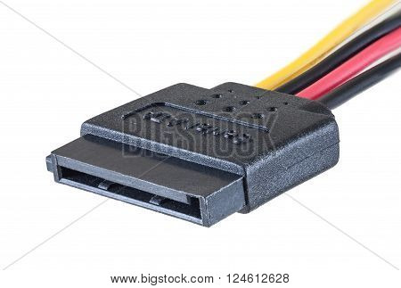 Serial ATA power cable isolated on white background clipping path closeup