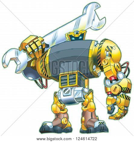 Vector cartoon clip art illustration of a giant tough-looking robot holding a wrench on its shoulder. Great for construction or repair themes.
