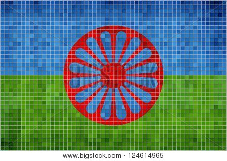 Flag of the Romani people - Illustration,  Abstract Mosaic of Gypsy flag,  Grunge mosaic The Romani flag,  Abstract grunge mosaic vector