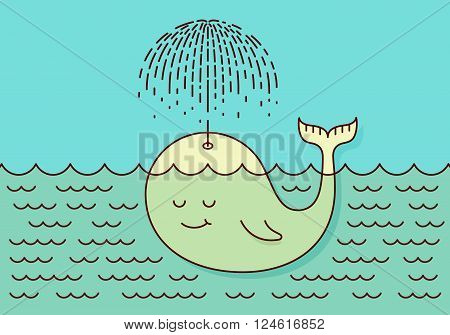 Poster with cute careless whale baby swimming in the sea under rain making umbrella out of his fountain. Flat style design concept pastel colors. Vector illustration
